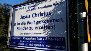 Plakat mit Bibelvers aus 1. Timotheus 1,15